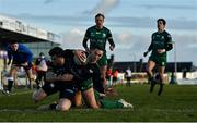24 January 2021; George North of Ospreys scores his side's first try during the Guinness PRO14 match between Connacht and Ospreys at The Sportsground in Galway. Photo by Brendan Moran/Sportsfile