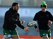 24 January 2021; Bundee Aki of Connacht passes the ball to team-mate John Porch prior to the Guinness PRO14 match between Connacht and Ospreys at The Sportsground in Galway. Photo by Brendan Moran/Sportsfile