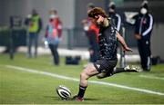 30 January 2021; Ben Healy of Munster kicks a conversion during the Guinness PRO14 match between Benetton and Munster at Stadio Monigo in Treviso, Italy. Photo by Roberto Bregani/Sportsfile