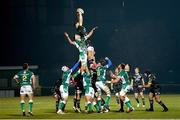 30 January 2021; Fineen Wycherley of Munster wins a lineout during the Guinness PRO14 match between Benetton and Munster at Stadio Monigo in Treviso, Italy. Photo by Roberto Bregani/Sportsfile