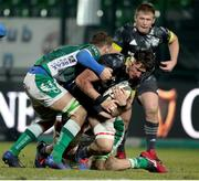 30 January 2021; Thomas Ahern of Munster is tackled during the Guinness PRO14 match between Benetton and Munster at Stadio Monigo in Treviso, Italy. Photo by Roberto Bregani/Sportsfile