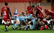 30 January 2021; Leinster players, Liam Turner, Luke McGrath, Ross Molony and Ciaran Frawley force team-mate James Tracy over for their side's second try during the Guinness PRO14 match between Scarlets and Leinster at Parc y Scarlets in Llanelli, Wales. Photo by Gareth Everitt/Sportsfile