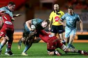 30 January 2021; Dan Leavy of Leinster is tackled by Blade Thomson of Scarlets during the Guinness PRO14 match between Scarlets and Leinster at Parc y Scarlets in Llanelli, Wales. Photo by Gareth Everitt/Sportsfile