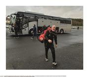 """5 January 2020; That winning smile. Mickey Harte, the longest serving of the current football managers, looks as energised, as enthusiastic, as sprightly as ever as he bounds from the team bus into Healy Park to start his 18th season at the helm in Tyrone. But how would it all end? Photo by Oliver McVeigh/Sportsfile This image may be reproduced free of charge when used in conjunction with a review of the book """"A Season of Sundays 2020"""". All other usage © Sportsfile"""