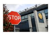 """13 March 2020; Exactly what it says on the tin. The Stop sign outside Croke Park on March 13th spells it out after the GAA, on the advice of the Government, suspend all activities as the country tries to contain the spread of Covid-19, a suspension that would soon extend into a lengthy lockdown. Photo by Ramsey Cardy/Sportsfile This image may be reproduced free of charge when used in conjunction with a review of the book """"A Season of Sundays 2020"""". All other usage © Sportsfile"""