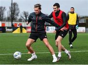2 February 2021; Daniel Cleary, left, and Michael Duffy during a Dundalk Pre-Season training session at Oriel Park in Dundalk, Louth. Photo by Ben McShane/Sportsfile
