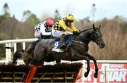 6 February 2021; Gaillard Du Mesnil, 9, with Paul Townend up, jumps the last on their way to winning the Nathaniel Lacy & Partners Solicitors `€50,000 Cheltenham Bonus For Stable Staff` Novice Hurdle on day 1 of the Dublin Racing Festival at Leopardstown Racecourse in Dublin. Photo by Harry Murphy/Sportsfile