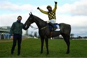 6 February 2021; Jockey Paul Townend celebrates on Gaillard Du Mesnil after winning the Nathaniel Lacy & Partners Solicitors `€50,000 Cheltenham Bonus For Stable Staff` Novice Hurdle on day 1 of the Dublin Racing Festival at Leopardstown Racecourse in Dublin. Photo by Harry Murphy/Sportsfile