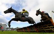 6 February 2021; Gaillard Du Mesnil, left, with Paul Townend up, jumps the last on their way to winning the Nathaniel Lacy & Partners Solicitors `€50,000 Cheltenham Bonus For Stable Staff` Novice Hurdle on day 1 of the Dublin Racing Festival at Leopardstown Racecourse in Dublin. Photo by Harry Murphy/Sportsfile