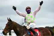 6 February 2021; Jockey Paul Townend celebrates on Chacun Pour Soi after winning the Ladbrokes Dublin Steeplechase on day 1 of the Dublin Racing Festival at Leopardstown Racecourse in Dublin. Photo by Harry Murphy/Sportsfile