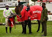 6 February 2021; Jockey Paul Townend, left, with Chacun Pour Soi and trainer Willie Mullins, right, after winning the Ladbrokes Dublin Steeplechase on day 1 of the Dublin Racing Festival at Leopardstown Racecourse in Dublin. Photo by Harry Murphy/Sportsfile