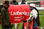 6 February 2021; Jockey Paul Townend, right, in conversation with trainer Willie Mullins after winning the Ladbrokes Dublin Steeplechase on Chacun Pour Soi on day 1 of the Dublin Racing Festival at Leopardstown Racecourse in Dublin. Photo by Harry Murphy/Sportsfile