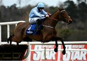 6 February 2021; Honeysuckle, with Rachael Blackmore up, jumps the last on their way to winning the Chanelle Pharma Irish Champion Hurdle on day 1 of the Dublin Racing Festival at Leopardstown Racecourse in Dublin. Photo by Harry Murphy/Sportsfile