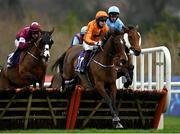 7 February 2021; Heaven Help Us, centre, with Richard Condon up, jumps the second on their way to winning the Irish Stallion Farms EBF Paddy Mullins Mares Handicap Hurdle on day two of the Dublin Racing Festival at Leopardstown Racecourse in Dublin. Photo by Seb Daly/Sportsfile