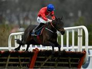 7 February 2021; Quilixios, with Jack Kennedy up, jumps the last on their way to winning the Tattersalls Ireland Spring Juvenile Hurdle on day two of the Dublin Racing Festival at Leopardstown Racecourse in Dublin. Photo by Seb Daly/Sportsfile