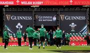 7 February 2021; Will Connors of Ireland walks the pitch with his team-mates prior to the Guinness Six Nations Rugby Championship match between Wales and Ireland at the Principality Stadium in Cardiff, Wales. Photo by Gareth Everett/Sportsfile