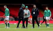 7 February 2021; Ireland head coach Andy Farrell  with forwards coach Paul O'Connell, left, and assistant coach Mike Catt, right, prior to the Guinness Six Nations Rugby Championship match between Wales and Ireland at the Principality Stadium in Cardiff, Wales. Photo by Gareth Everett/Sportsfile