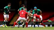 7 February 2021; Robbie Henshaw of Ireland is tackled by Alun Wyn Jones and Wyn Jones of Wales during the Guinness Six Nations Rugby Championship match between Wales and Ireland at the Principality Stadium in Cardiff, Wales. Photo by Chris Fairweather/Sportsfile