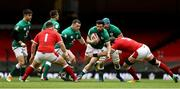 7 February 2021; Robbie Henshaw of Ireland is tackled by Alun Wyn Jones of Wales during the Guinness Six Nations Rugby Championship match between Wales and Ireland at the Principality Stadium in Cardiff, Wales. Photo by Chris Fairweather/Sportsfile