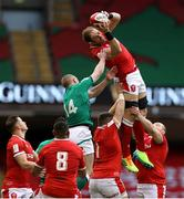 7 February 2021; Alun Wyn Jones of Wales claims the kickoff ahead of Keith Earls of Ireland during the Guinness Six Nations Rugby Championship match between Wales and Ireland at the Principality Stadium in Cardiff, Wales. Photo by Chris Fairweather/Sportsfile
