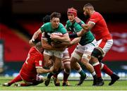 7 February 2021; Hugo Keenan of Ireland is tackled by Ken Owens of Wales during the Guinness Six Nations Rugby Championship match between Wales and Ireland at the Principality Stadium in Cardiff, Wales. Photo by Chris Fairweather/Sportsfile