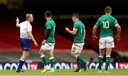 7 February 2021; Peter O'Mahony of Ireland, 2nd from right, leaves the pitch after bring shown a red card by referee Wayne Barnes during the Guinness Six Nations Rugby Championship match between Wales and Ireland at the Principality Stadium in Cardiff, Wales. Photo by Gareth Everett/Sportsfile