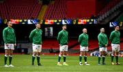 7 February 2021; Ireland players, from left, Jonathan Sexton, Peter O'Mahony, Conor Murray, Keith Earls, Rob Herring and James Ryan stand for the national anthems prior to the Guinness Six Nations Rugby Championship match between Wales and Ireland at the Principality Stadium in Cardiff, Wales. Photo by Ben Evans/Sportsfile