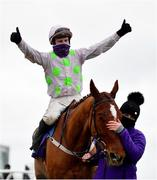 7 February 2021; Jockey Paul Townend celebrates after riding Monkfish to victory in the Flogas Novice Steeplechase on day two of the Dublin Racing Festival at Leopardstown Racecourse in Dublin. Photo by Seb Daly/Sportsfile