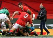 7 February 2021; Tadhg Beirne of Ireland scores his side's first try during the Guinness Six Nations Rugby Championship match between Wales and Ireland at the Principality Stadium in Cardiff, Wales. Photo by Chris Fairweather/Sportsfile
