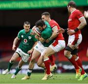 7 February 2021; Robbie Henshaw of Ireland is tackled by George North of Wales during the Guinness Six Nations Rugby Championship match between Wales and Ireland at the Principality Stadium in Cardiff, Wales. Photo by Chris Fairweather/Sportsfile