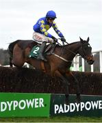 7 February 2021; Kemboy, with Danny Mullins up, jumps the last on their way to winning the Paddy Power Irish Gold Cup on day two of the Dublin Racing Festival at Leopardstown Racecourse in Dublin. Photo by Seb Daly/Sportsfile