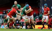 7 February 2021; Tadhg Beirne of Ireland is tackled by Wyn Jones and Adam Beard of Wales during the Guinness Six Nations Rugby Championship match between Wales and Ireland at the Principality Stadium in Cardiff, Wales. Photo by Chris Fairweather/Sportsfile