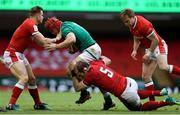 7 February 2021; Josh van der Flier of Ireland is tackled by Hallam Amos and Alun Wyn Jones of Wales during the Guinness Six Nations Rugby Championship match between Wales and Ireland at the Principality Stadium in Cardiff, Wales. Photo by Chris Fairweather/Sportsfile