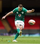 7 February 2021; Jonathan Sexton of Ireland kicks a penalty during the Guinness Six Nations Rugby Championship match between Wales and Ireland at the Principality Stadium in Cardiff, Wales. Photo by Chris Fairweather/Sportsfile