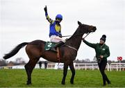 7 February 2021; Jockey Danny Mullins and groom Ruth Dudfield celebrate with Kemboy after winning the Paddy Power Irish Gold Cup on day two of the Dublin Racing Festival at Leopardstown Racecourse in Dublin. Photo by Seb Daly/Sportsfile