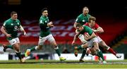 7 February 2021; Jonathan Sexton of Ireland is tackled by Nick Tompkins of Wales during the Guinness Six Nations Rugby Championship match between Wales and Ireland at the Principality Stadium in Cardiff, Wales. Photo by Gareth Everett/Sportsfile
