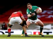 7 February 2021; Tadhg Furlong of Ireland in action against Taulupe Faletau of Wales during the Guinness Six Nations Rugby Championship match between Wales and Ireland at the Principality Stadium in Cardiff, Wales. Photo by Gareth Everett/Sportsfile