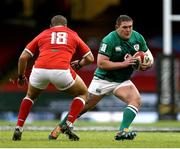 7 February 2021; Tadhg Furlong of Ireland in action against Leon Brown of Wales during the Guinness Six Nations Rugby Championship match between Wales and Ireland at the Principality Stadium in Cardiff, Wales. Photo by Gareth Everett/Sportsfile