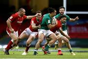 7 February 2021; James Lowe of Ireland is tackled by George North of Wales during the Guinness Six Nations Rugby Championship match between Wales and Ireland at the Principality Stadium in Cardiff, Wales. Photo by Gareth Everett/Sportsfile