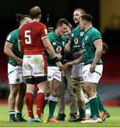 7 February 2021; Billy Burns of Ireland, centre, reacts after the final whistle of the Guinness Six Nations Rugby Championship match between Wales and Ireland at the Principality Stadium in Cardiff, Wales. Photo by Gareth Everett/Sportsfile