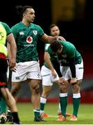7 February 2021; James Lowe, left, and Billy Burns of Ireland react at the final whistle of the Guinness Six Nations Rugby Championship match between Wales and Ireland at the Principality Stadium in Cardiff, Wales. Photo by Gareth Everett/Sportsfile