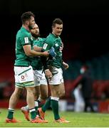 7 February 2021; Ireland players, from left, Will Connors, Jamison Gibson-Park and Billy Burns of Ireland at the final whistle of the Guinness Six Nations Rugby Championship match between Wales and Ireland at the Principality Stadium in Cardiff, Wales. Photo by Gareth Everett/Sportsfile