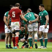 7 February 2021; Alun Wyn Jones of Wales shakes hands with Rónan Kelleher of Ireland as Billy Burns, centre, reacts after the Guinness Six Nations Rugby Championship match between Wales and Ireland at the Principality Stadium in Cardiff, Wales. Photo by Gareth Everett/Sportsfile