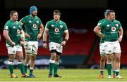 7 February 2021; Ireland players, from left, Tadhg Furlong, Tadhg Beirne, CJ Stander and Dave Kilcoyne at the final whistle of the Guinness Six Nations Rugby Championship match between Wales and Ireland at the Principality Stadium in Cardiff, Wales. Photo by Gareth Everett/Sportsfile