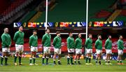 7 February 2021; The Ireland team, from left, Rob Herring, James Ryan, Hugo Keenan, Tadhg Beirne, Josh van der Flier, CJ Stander, James Lowe, Garry Ringrose, Andrew Porter, Robbie Henshaw and Will Connors stand for the national anthems prior to the Guinness Six Nations Rugby Championship match between Wales and Ireland at the Principality Stadium in Cardiff, Wales. Photo by Ben Evans/Sportsfile