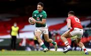 7 February 2021; Hugo Keenan of Ireland in action against Johnny Williams of Wales during the Guinness Six Nations Rugby Championship match between Wales and Ireland at the Principality Stadium in Cardiff, Wales. Photo by Chris Fairweather/Sportsfile