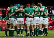 7 February 2021; The Ireland team huddle prior to the Guinness Six Nations Rugby Championship match between Wales and Ireland at the Principality Stadium in Cardiff, Wales. Photo by Gareth Everett/Sportsfile
