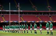 7 February 2021; The Ireland team stand for the national anthems prior to the Guinness Six Nations Rugby Championship match between Wales and Ireland at the Principality Stadium in Cardiff, Wales. Photo by Gareth Everett/Sportsfile