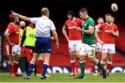 7 February 2021; Peter O'Mahony of Ireland leaves the pitch having being shown a red card by referee Wayne Barnes during the Guinness Six Nations Rugby Championship match between Wales and Ireland at the Principality Stadium in Cardiff, Wales. Photo by Ben Evans/Sportsfile