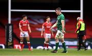 7 February 2021; Peter O'Mahony of Ireland leaves the pitch having being shown a red card during the Guinness Six Nations Rugby Championship match between Wales and Ireland at the Principality Stadium in Cardiff, Wales. Photo by Ben Evans/Sportsfile